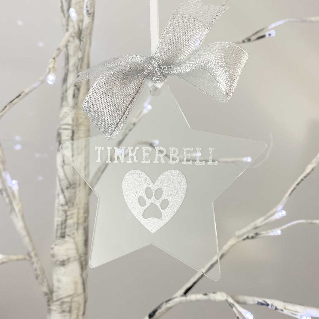 Exclusive to 'The Lovely Gift Group'. A star shaped personalised pet memorial. Lovely Christmas tree ornament. Clear acrylic with silver highlights.