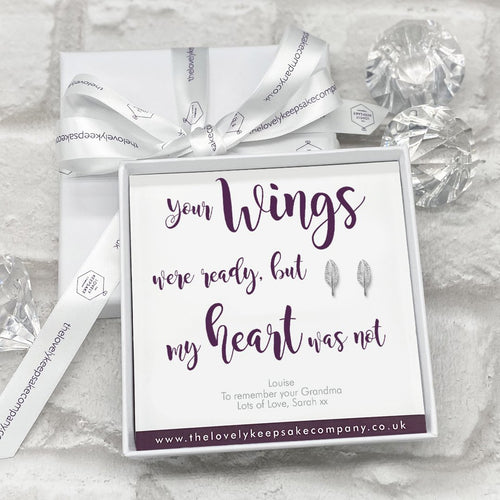 Sterling Silver Feather Earrings Personalised Gift Box - Various Thoughtful Messages