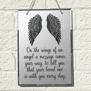 Condolence Mirror. Angel Wings Motif. 'Your Loved One Is With You Every Day.'
