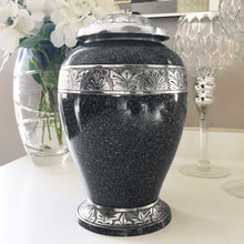 Load image into Gallery viewer, Black/Silver Speckled Leaf Adult Urn for Ashes