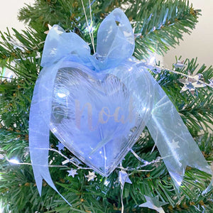 Personalised Blue Feather Filled Heart Bauble