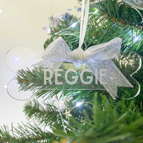 Personalised Acrylic Dog Bone Tree Decoration