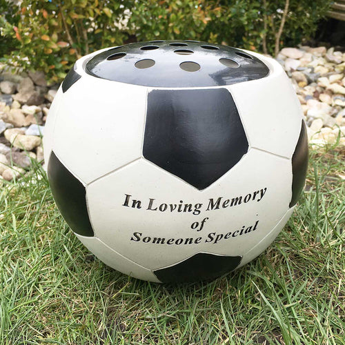 Graveside / Memorial Vase. Football Shaped. 'In Loving Memory of Someone Special'.