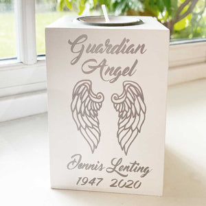 'Guardian Angel Wings' white wooden tea light holder with FREE candle