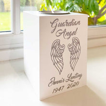 Load image into Gallery viewer, 'Guardian Angel Wings' white wooden tea light holder with FREE candle