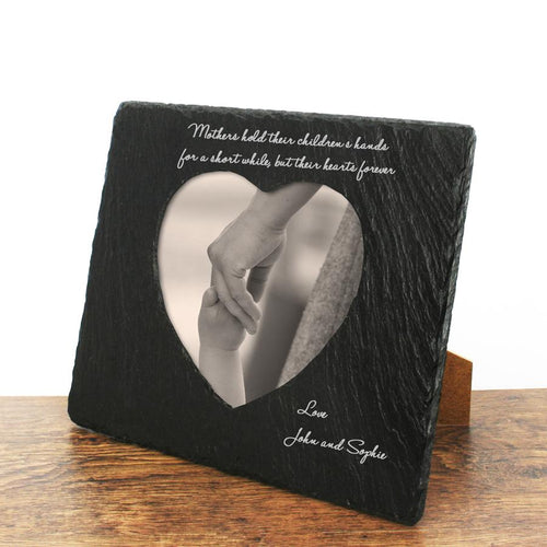Mothers Hands & Hearts Slate Photo Frame - Personalised