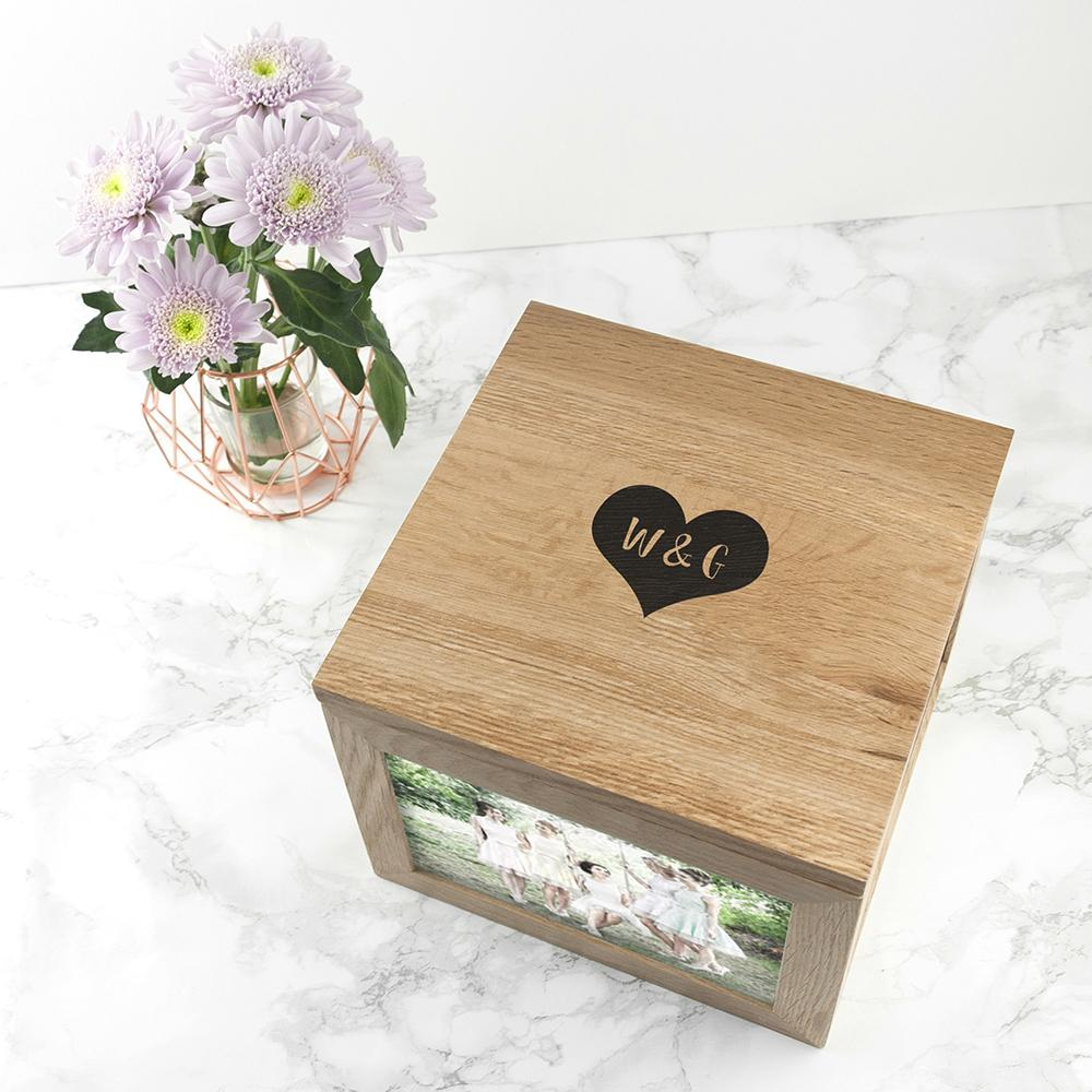 Oak Photo Keepsake Box with Initials in a Heart