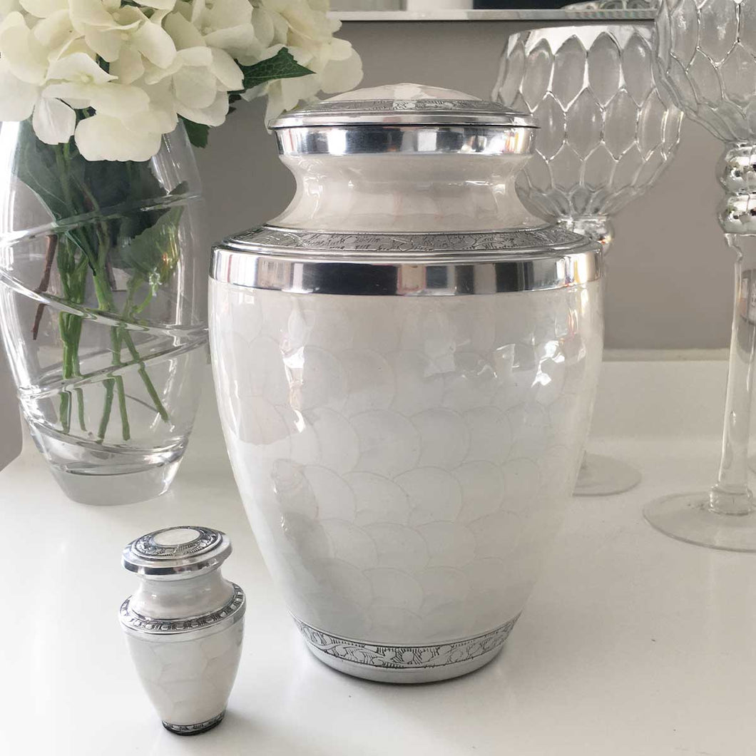 Pearlescent/Silver Adult Cremation Urn For Ashes