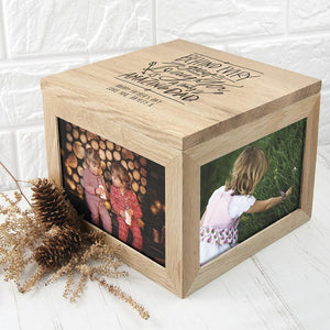Personalised Truly Amazing Dad Oak Photo Keepsake Box