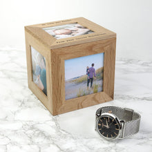 Load image into Gallery viewer, Personalised Oak Photo Cube Keepsake Box
