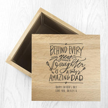 Load image into Gallery viewer, Personalised Truly Amazing Dad Oak Photo Keepsake Box
