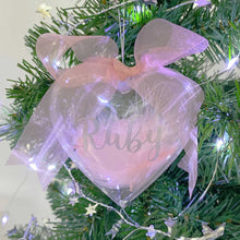 Load image into Gallery viewer, Personalised Pink Feather Filled Heart Bauble
