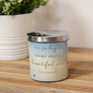 Remembrance Scented Candle. Glass Holder. 'A Beautiful Soul Has Passed' Sentiment.