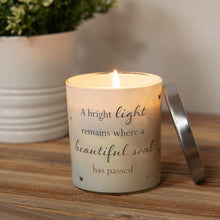 Load image into Gallery viewer, Remembrance Scented Candle. Glass Holder. 'A Beautiful Soul Has Passed' Sentiment.