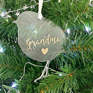 Personalised Memorial Christmas Robin decoration. Clear acrylic. 'Grandma's Robin' example. On Xmas tree.