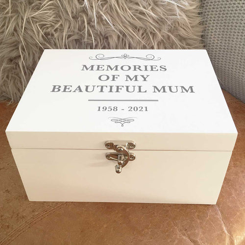 Any Name/Message Scroll White Luxury Wooden Keepsake Box (Black, Silver, Gold, Pink or Blue)