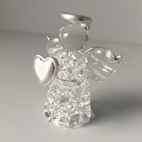 Glass Angel Silver Heart Ornament