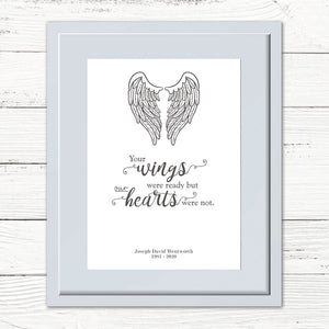Personalised 'Your wings were ready' Print