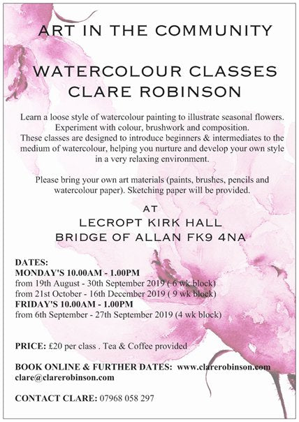 ART in the Community NEW dates for Weekly Painting Courses in Bridge of Allan