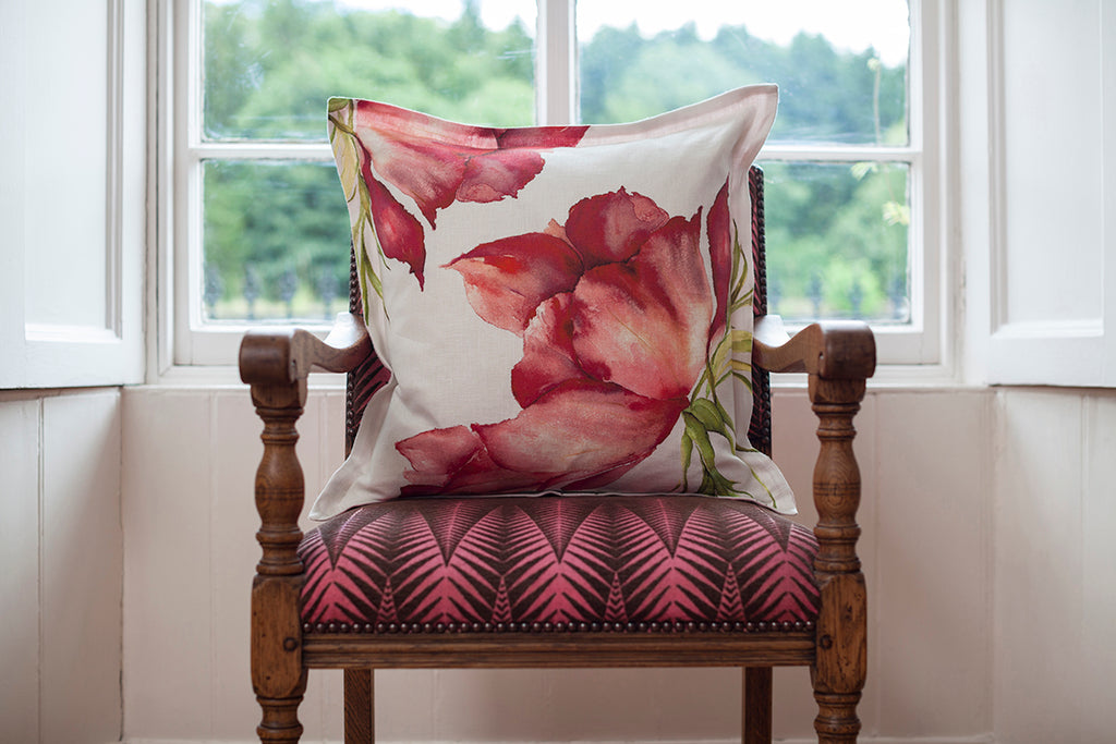 Ruby Anemone Linen Cushion