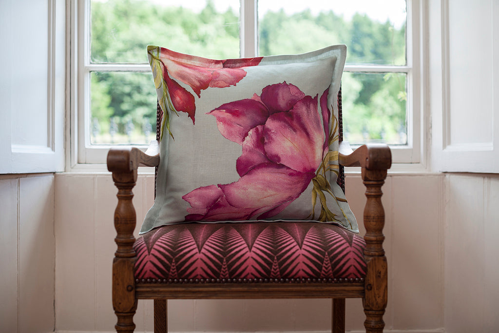 Fuschia Anemone Linen Cushion