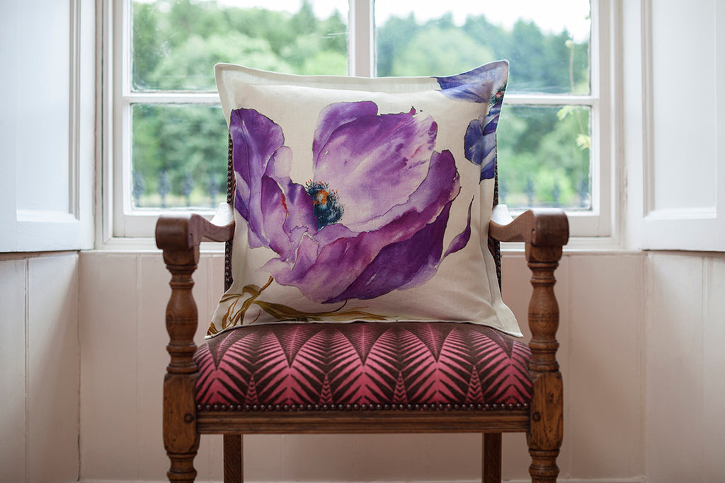 Purple Anemone Linen Cushion