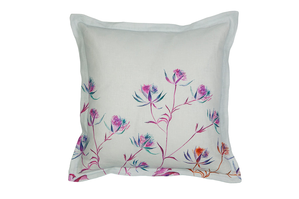 Blue Astrantia Linen Cushion