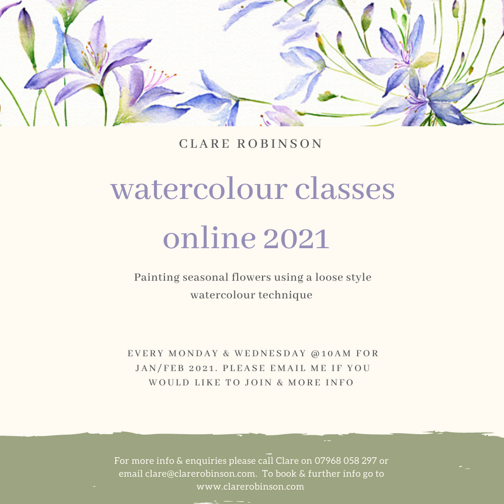 Online Watercolour Classes Jan/Feb 2021 WEDNESDAY @ 10am