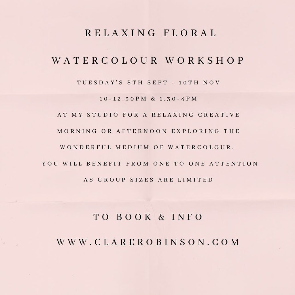 RELAXING FLORAL WATERCOLOUR WORKSHOP AUTUMN 2020