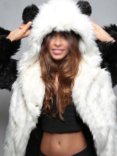 Cute Hoodie Long Fur And Feather Coat