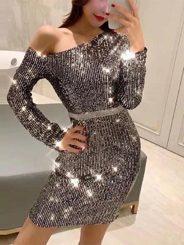 Fashion Sexy   Off-Shoulder Sparkly Long Sleeve Bodycon Dress