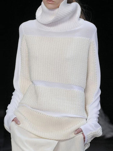 Stand Collar Long Sleeve White Knit Sweater