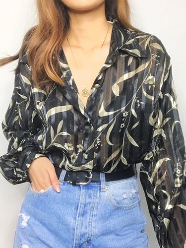 Women's Vintage Printed Color Long Sleeve Blouse