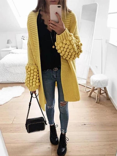 V-neck Long-sleeved Yellow Knit Cardigan Sweater