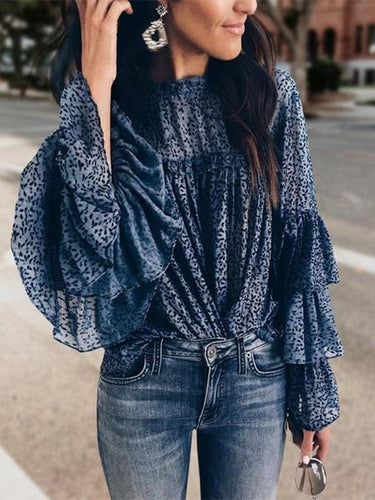 Fashion Bell Sleeve Printed Colour Round Neck Shirt