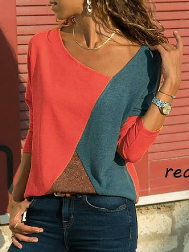 Asymmetric Neck  Patchwork  Contrast Stitching Long Sleeve T-Shirts