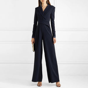 Elegant Turndown Collar Long Sleeve Solid Color Jumpsuit