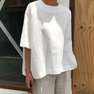 Solid Cotton Linen T-Shirt Causal O-Neck Half Sleeve Shirts Plus Size Women Shirt Simple Summer Tops