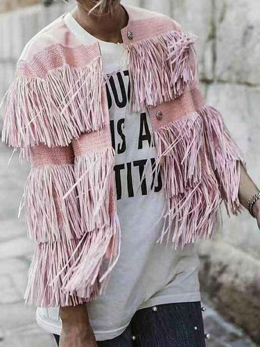 Women's Sweet Pure Color Long Sleeve Single-Breasted Tassel Jacket
