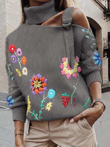 Sexy Shoulder Out Flower High Neck Sweater