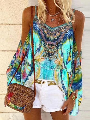 Bohemian Print Sleeveless T-shirt