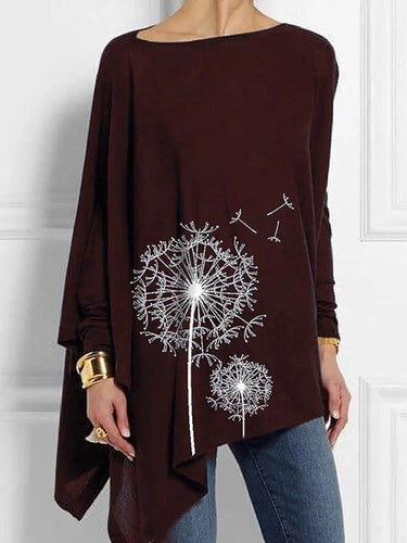 European And American Printed Round-neck Long-sleeved T-Shirt