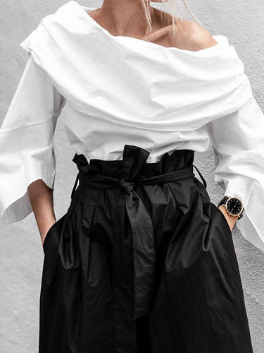 Loose Casual Off-The-Shoulder Long-Sleeved Shirt