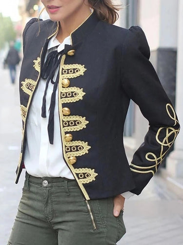 Fashion Embroidery Single Breasted Blazer