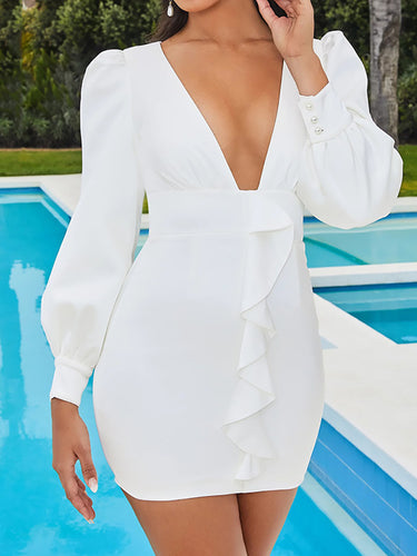 Sexy Deep V Lantern Sleeves Solid Color Dress