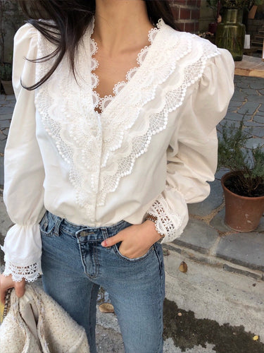 Vintage Solid Lace V-Neck Puff Sleeve Top