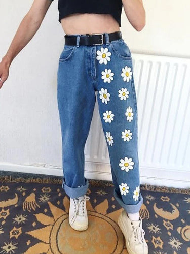 Cute White Flowers Girls Jeans