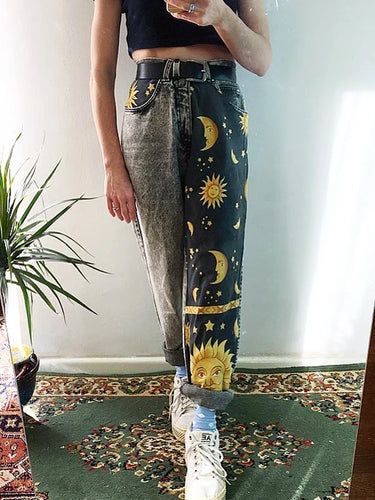 Casual Sun And Moon Jeans For Girls