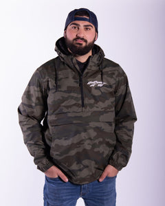 Camo Scoop-Neck 1/2 Zip Windbreaker
