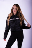 Women's Black Camo Crop Top Hoodie
